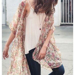 Brandy Melville Floral Sheer Kimono Duster